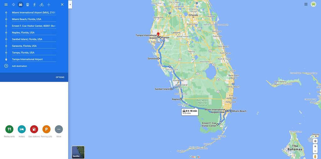 Google Maps Roastrip Miami to Tampa